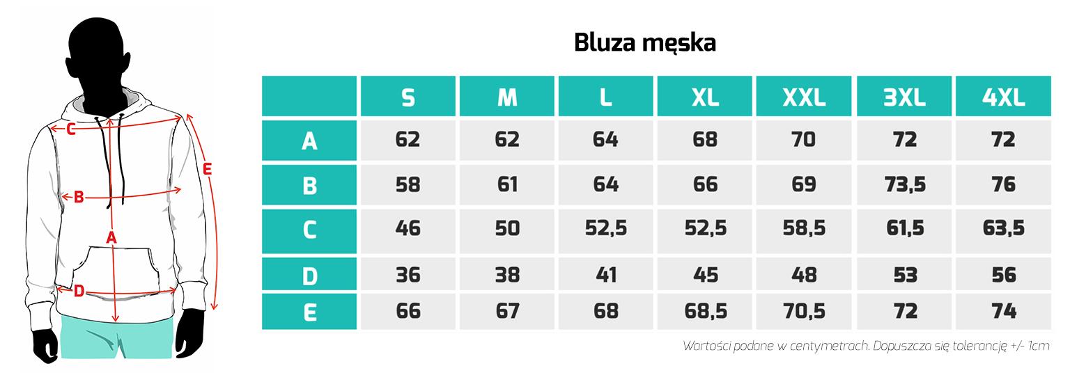 Tabela rozmiarów - bluzy męskie Mastiff