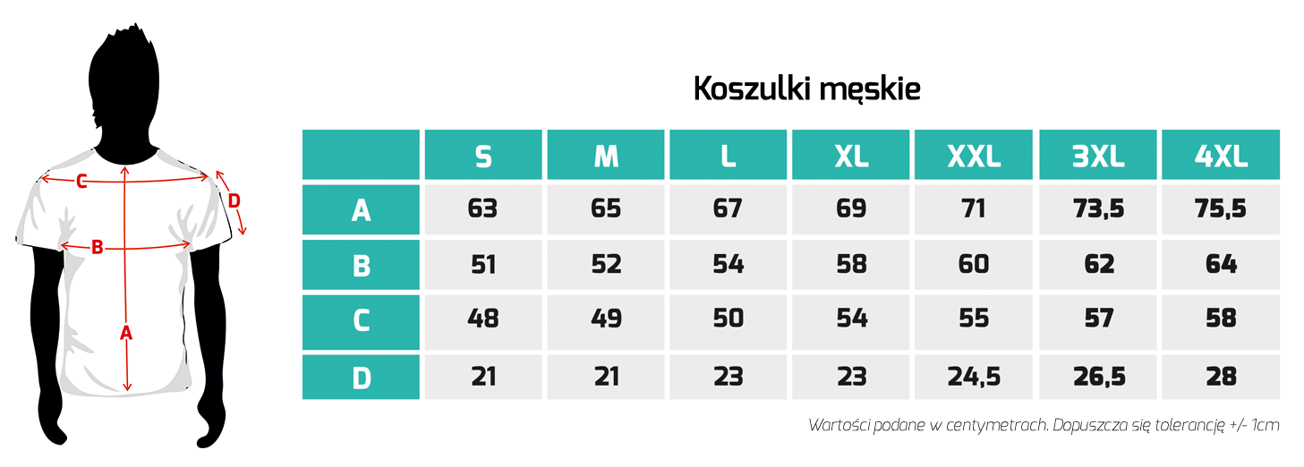 Tabela rozmiarów - koszulki męskie