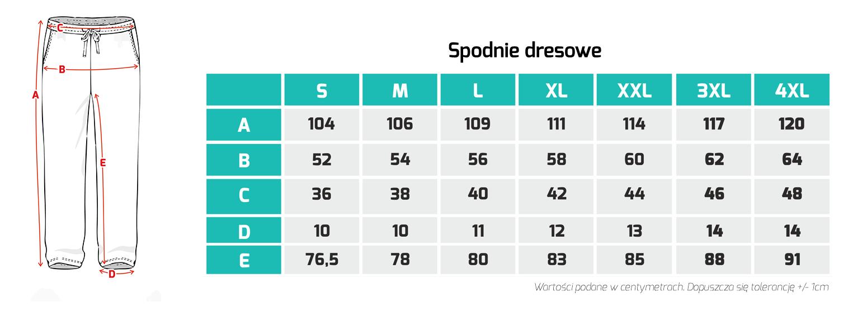Tabela rozmiarów - spodnie dresowe